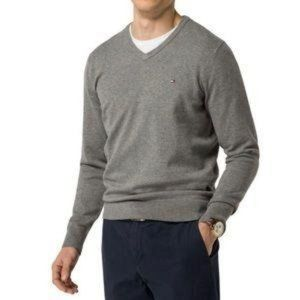 Tommy Hilfiger Men's Gray V-Neck Pullover Sweater